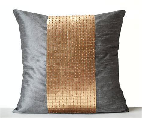 Gray And Gold Throw Pillows Decorative Pillow Covers Grey Gold Color Block Silk Throw