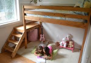 white c loft bed with stair junior height diy