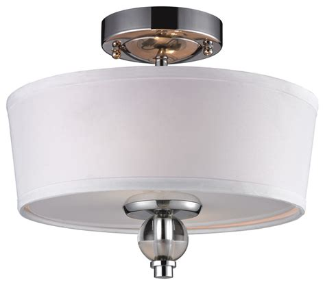 Martina 2 Light Semi Flush In Polished Chrome Contemporary Semi Flush Mount Ceiling Light