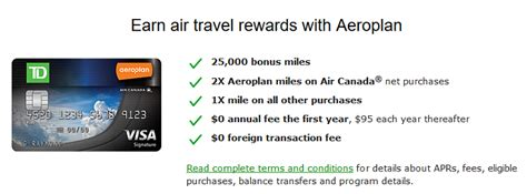 Td Visa Gift Card Canada - td aeroplan visa signature credit card 25 000 miles bonus 0 aeroplan aeroplan credit