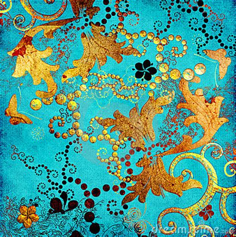 wallpaper turquoise gold japanese painting on gold background turquoise