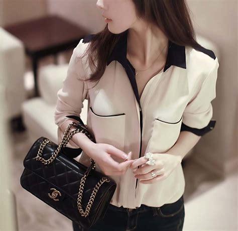 A143 Kemeja Blouse Sifon Coklat Lengan Panjang baju kemeja wanita sifon coklat model terbaru jual