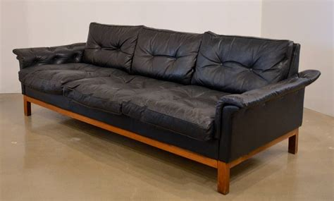 black tufted couch mid century black tufted leather sofa danish at 1stdibs