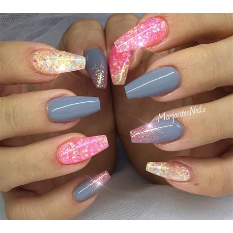 Glitter Nail by Glitter Coffin Nails Summer Nail Margaritasnailz