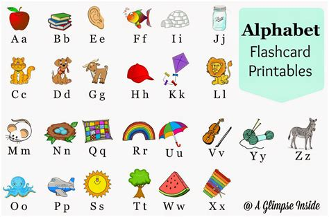 printable alphabet flashcards for preschoolers a glimpse inside alphabet flashcards printables