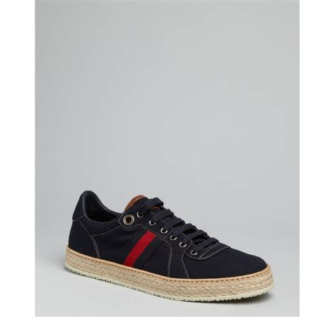 gucci navy canvas leather trim and espadrille sneakers in