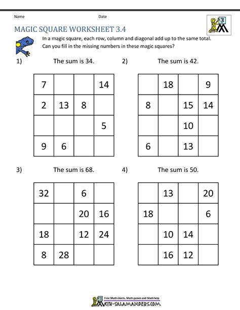 Magic Square Worksheet magic square worksheets