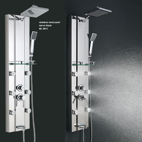 Stainless steel Rainfall Shower Panel Tower Tub Faucet 6 Body Massage Jets Mirro Modern
