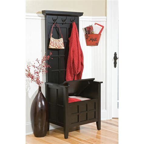 mini hall tree bench home styles 174 black mini hall tree storage bench 163286