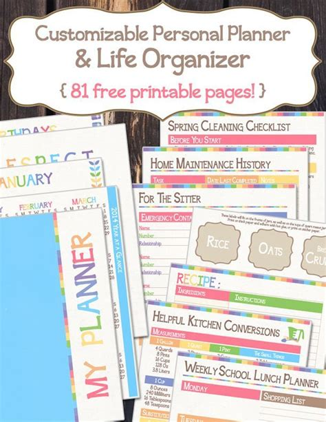 life organizer planner printable free personal planner life organizer 81 pages
