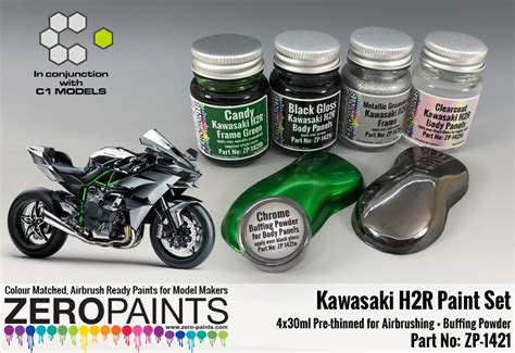 kawasaki h2r paint set 4x30ml chrome buffering powder zp 1421 zero paints