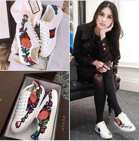 Diskon Sepatu Gucci Yf35 Putih sepatu kets bertali wanita desain guci gambar bunga warna putih