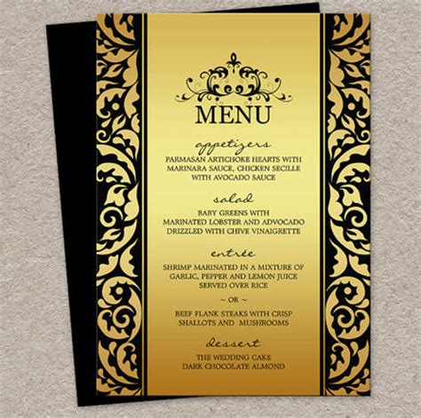 menu card templates 9 dinner menu templates design templates free
