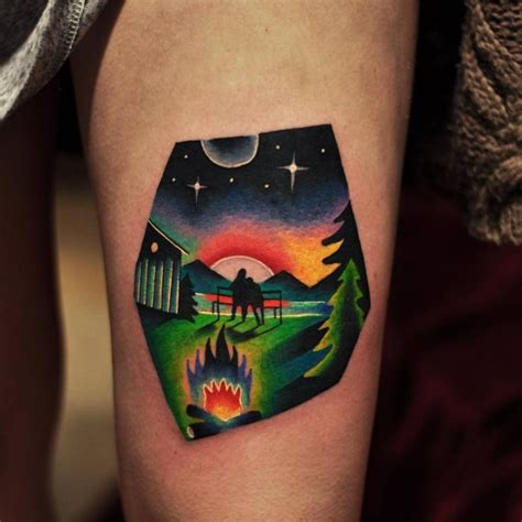 landscape tattoo on the thigh awesome art pinterest