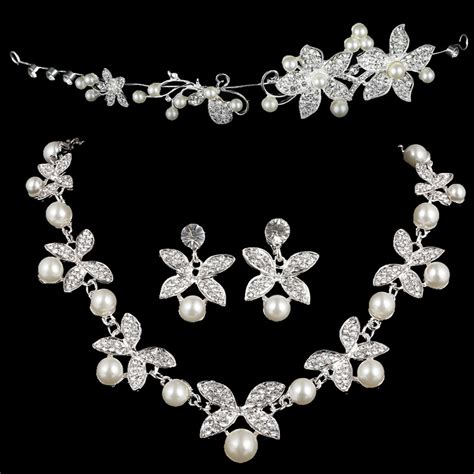 Set Kalung Anting Flower Jewelry Cantik Rbcfbd pearl three butterfly earring necklace headdress set perhiasan white