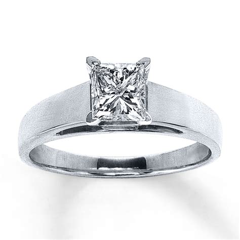 jared solitaire ring 1 carat princess cut 14k