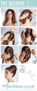 hair style step by step pic how to do a beehive hairstyle step by step beehive hairstyle sofeminine