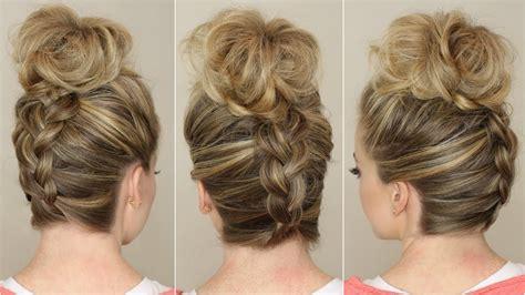how to do an upside down french braid bun upside down braid to bun youtube