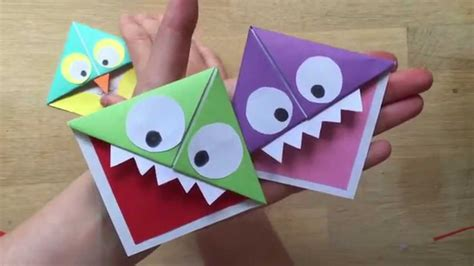 How To Make Paper Monsters - easy paper owl corner bookmarks