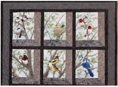 block fabric panel    beautiful bird quilt