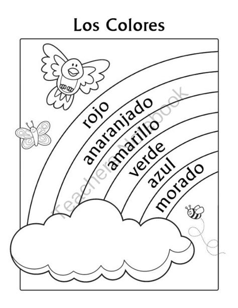 spring coloring pages in spanish los colores spanish colors rainbow coloring page from miss