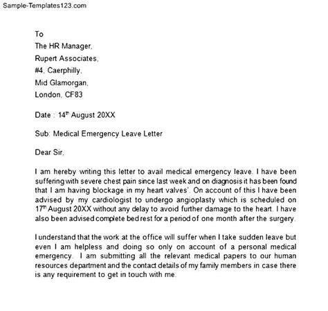 medical emergency leave letter sample templates sample