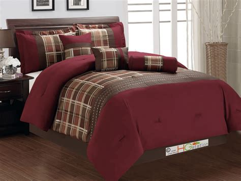 7 jacquard autumn plaid embroidery comforter set burgundy