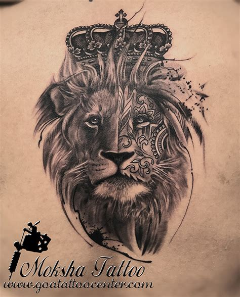 best lion tattoos realistic king with crown done by mukesh
