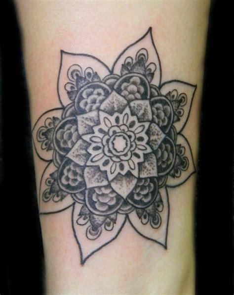 mandala flower tattoo meaning artist galen luker has used shading and texture to