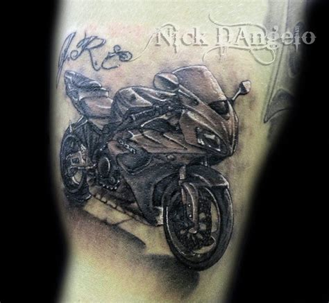 biker sleeve tattoo designs 3d motorcycle by nickdangelotattoos on deviantart