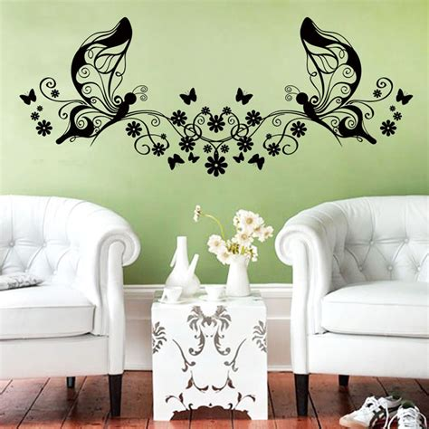 butterflies home decor hot sale creative vinyl flowers and butterflies wall