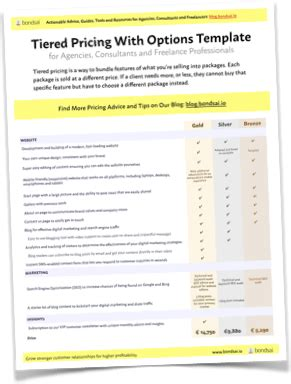 How To Win More Clients With Tiered Pricing With Template The Bondsai Blog Actionable Tiered Pricing Template