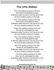 Monkeys Jumping On The Bed Youtube Five Little Monkeys Lyrics Printout Midi And Video