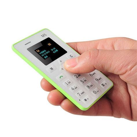 Mini Mobiles by Thin Mini M5 Cell Phone Version Credit Card Mobile Phone