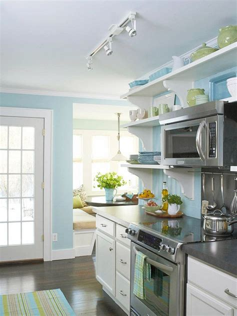 light blue kitchen walls before and after cottage kitchen open shelving nooks