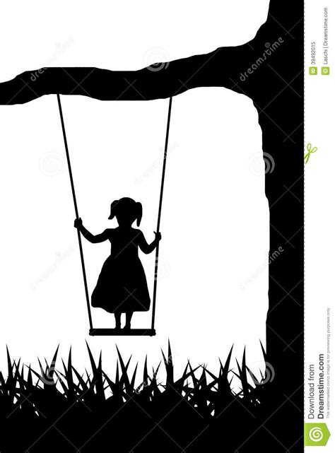 girl on swing silhouette girl on swing stock vector image of rope contour white