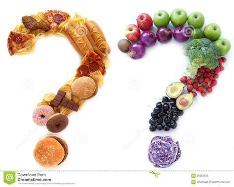 choice food healthy unhealthy food choices stock photo image 59382935
