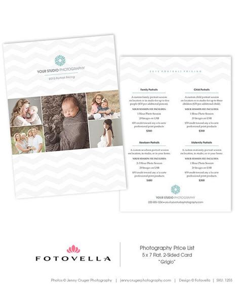 5x7 Card Templates For Photographers by Photography Price List Template 5x7 Card Photoshop