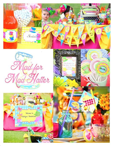 krown themes shopify wonderland birthday party straw flag mad hatter party