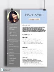cv resume template marie easycv modern resume word