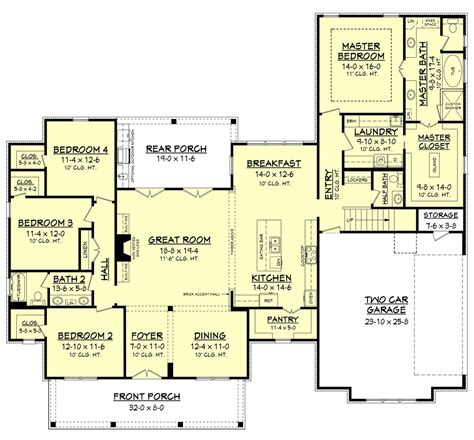 farmhouse style house plan 4 beds 2 50 baths 2686 sq ft