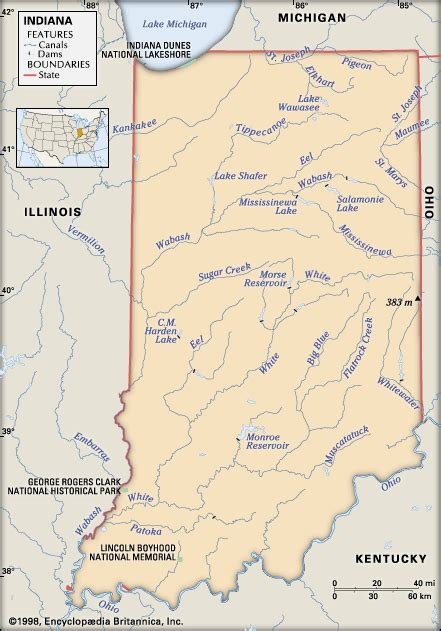 physical map of indiana indiana physical features encyclopedia children