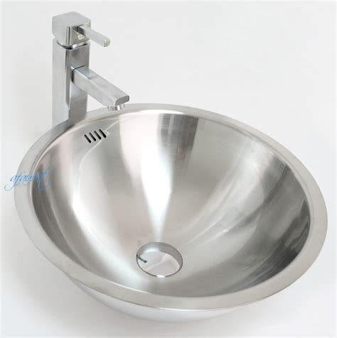 metal bathroom sink round 18 gauge stainless steel drop in undermount