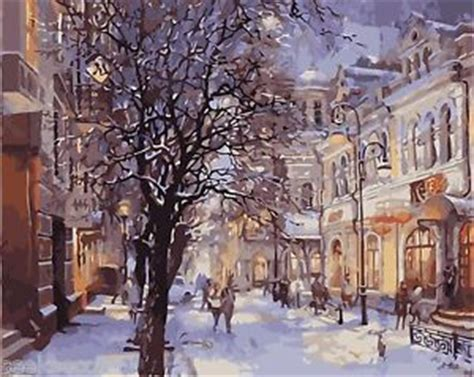 paint nite nyc phone number framed acrylic painting by number kit winter snow city