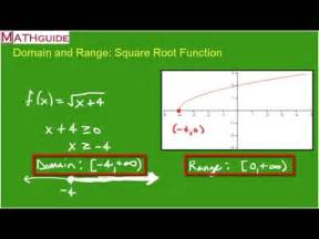 domain  range square root function youtube