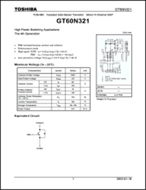 transistor toshiba gt60n321 toshiba gt60n321 datasheet