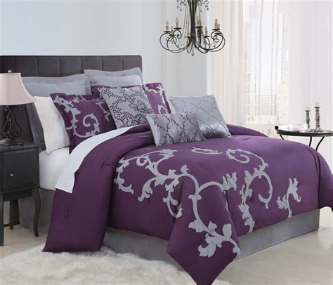 grey and purple bedroom 9 piece queen duchess plum and gray comforter set