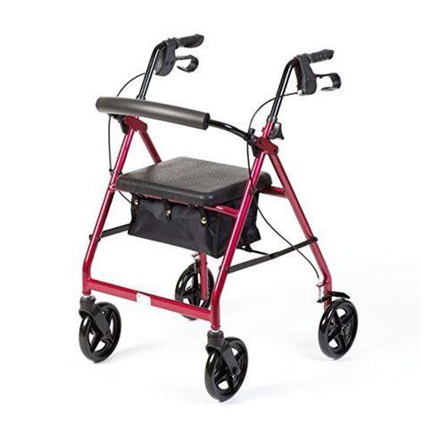 lightweight four wheel walker with seat simplymed rollator mobility walker padded seat four wheel
