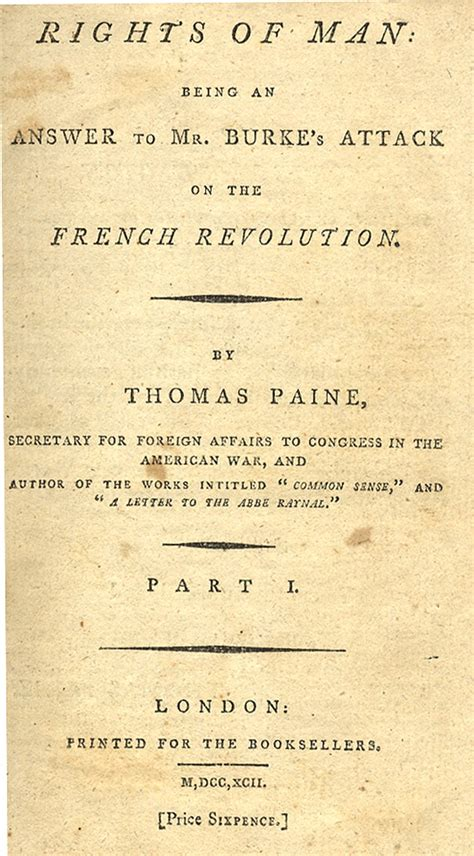 thomas paines rights of lot detail rare copy of thomas paine s quot rights of man quot
