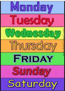 7 days of the week flash cards